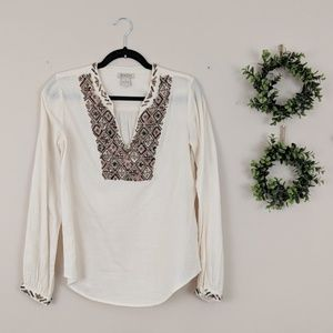 Lucky Brand Cream Brown Bronze Embellished Tunic